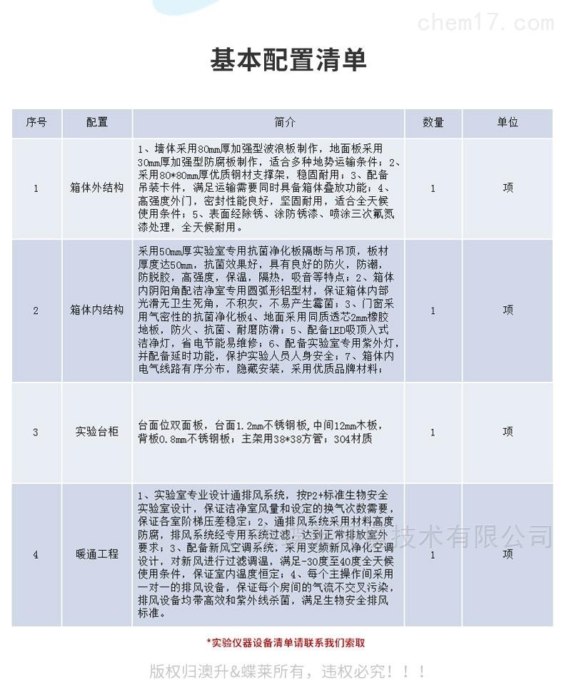 移动PCR实验室配置清单