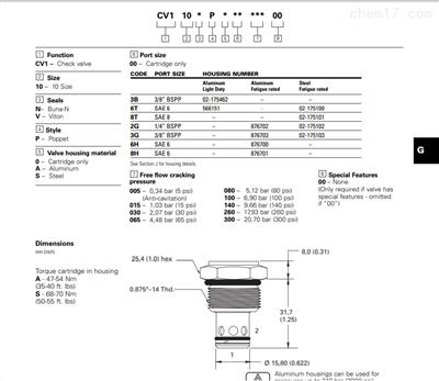 威格士VICKERS螺纹插装单向阀cv3-10-P-0-10