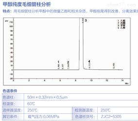 甲醇纯度毛细管柱分析