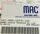 美国MAC 34C-ABA-GDFA-1KA 电磁阀 *