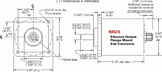 NR25 = EtherNet/IP & Modbus TCP Single-turn and Multi-turn, Flange Mount, End Connector