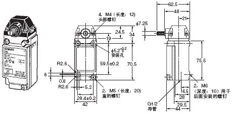 D4A-□N 外形尺寸 6 D4A-3[]01N_Dim