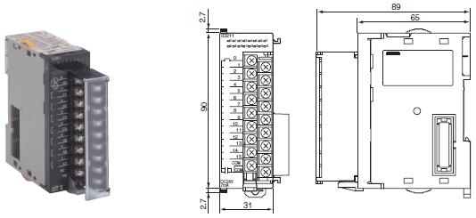CJ1W-OC / OA / OD 外形尺寸 3 CJ1W-OC201_Dim
